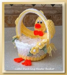 Little Duckling Easter Basket (CAL) – Free Crochet Easter Patterns Single Crochet Decrease, Easter Crochet Patterns, Crochet Hook Sizes, Crochet Designs, Easter Baskets, Easter Crafts, Crochet Projects, Sewing Crafts, Blog