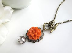 Marmalade Orange Flower. Nature Woodland Vintage Style Pretty Marigold, heart toggle clasp and Swarovski Pearl Necklace. Simple bridal gift