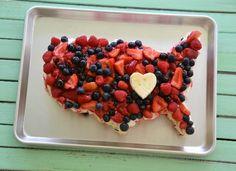 Fourth of July Cake - 4th of July United States Fruit Cake. #4thofjuly #redwhiteandblue