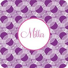 interlocking purple and pink circles coaster set