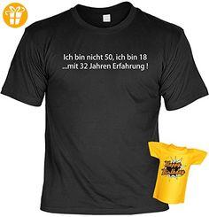 Geburtstags-Fun-Shirt-Set inkl. Mini-Shirt/Flaschendeko: Ich bin nicht 50, ich bin 18...mit 32 Jahren Erfahrung! (*Partner-Link)