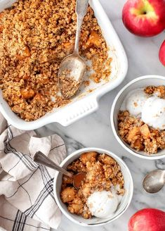 This healthy apple crumble recipe is such a delicious fall dessert. It has a wholesome cinnamon, brown sugar, and oat topping that tastes fantastic with the soft, spiced apple filling. Vegan.