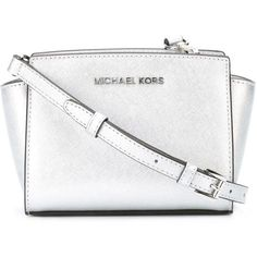 Michael Michael Kors Mini Selma Crossbody Bag ($169) ❤ liked on Polyvore featuring bags, handbags, shoulder bags, purses, metallic, man bag, crossbody purse, crossbody shoulder bags, shoulder handbags and white purse