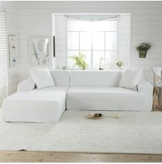 solid color corner sofa covers for living room elastic spandex slipcovers couch cover stretch sofa towel L shape need buy Corner Sofa Covers, Couch Covers, White Couch Cover, Cushion Covers, Clean Couch, Simple Sofa, Types Of Sofas, Fabric Sofa, Leather Sofa