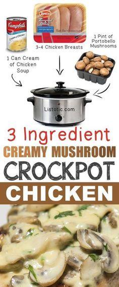 3 Ingredient Creamy Mushroom Crockpot Chicken Recipe - So easy! Warm comfort f. comfort food recipes crock pots 3 Ingredient Creamy Mushroom Crockpot Chicken Recipe - So easy! Warm comfort f. Crock Pot Food, Crockpot Dishes, Crock Pot Slow Cooker, Healthy Crockpot Chicken Recipes, Crock Pots, Recipe Chicken, Slow Cooker Recipes Simple, Crock Pot Ribs, Simple Chicken Recipes