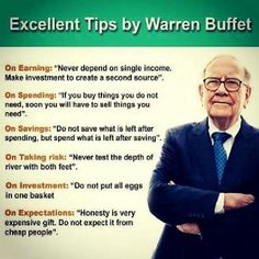 Warren Buffett's words of wisdom. The creator of this infographic spelt Warren's surname wrong! If I may add another maxim... 'The devil is in the detail'