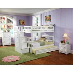 Atlantic Furniture Columbia Staircase Full Over Full Bunk Bed - Bunk Beds & Loft Beds at Hayneedle