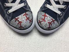 3e59e6308f4 Baseball Converse Shoes. Baseball Mom Gift. Women s Bling Converse Shoes. Baseball  Gift for Wife