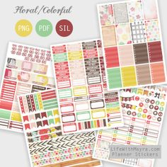 lifewithmayra | Colorful floral planner stickers