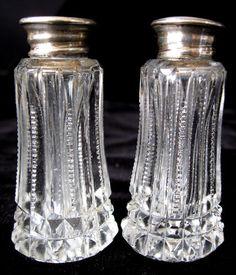 Antique Roden Bros.(BIRKS) Sterling Silver Zipper Cut Crystal Salt Pepper
