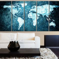 Navy world map wall art triptych 3 canvases world map print in navy world map wall art triptych 3 canvases world map print in navy blue and gold pinterest triptych walls and room gumiabroncs Image collections