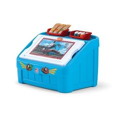 Step2 Thomas The Tank Engine Toy Box with Art Lid.  Use the lid as an art space to draw, put puzzles together, write or color.  4.5 cubic feet of interior storage space.  View more toy boxes for boys at the site.