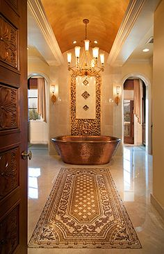 Beautiful Copper Tub i would have to make sure i had my brazil wax as i parade toward my copper bath. Dream Bathrooms, Beautiful Bathrooms, Luxurious Bathrooms, Copper Tub, Victorian Bathroom, Minimalist Bathroom, Bathroom Inspiration, Bathroom Ideas, Master Bathroom