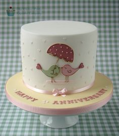 Love Birds Anniversary Cake - Extended height vanilla sponge.  The design is based upon an image the customer sent me.