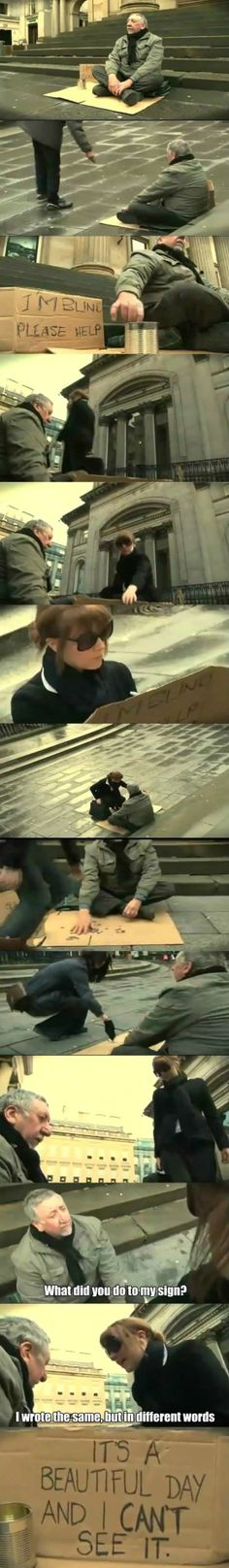 Awesome - Woman helps a blind begger - http://www.jokideo.com/