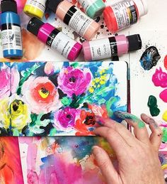 Finger painting abstract flowers