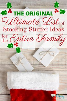 Inexpensive stocking stuffer ideas for the entire family - Over 500 ideas for children ages 0 through Adults. Great for gift basket ideas too.