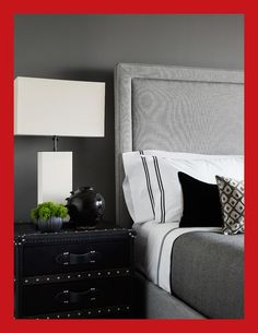 Transitional Master Bedroom Idea In Chicago With Gray Walls Like The Trunk For A Table And Black Trimmed Sheets