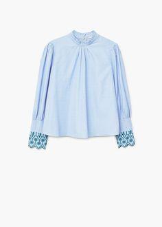 Striped embroidery blouse | MANGO