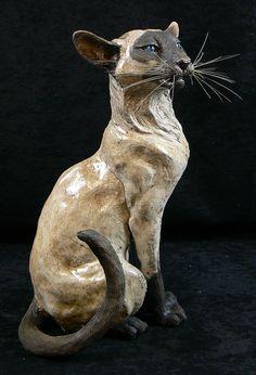 Raku sculpture of siamese cat by Lesley D. McKenzie - Scottish Ceramic Artist