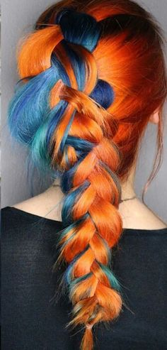 Half blue half orange dyed braided hair color @haileymahonehair