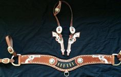 Crawford Custom Leather Six Shooter Headstall and Tripping Collar