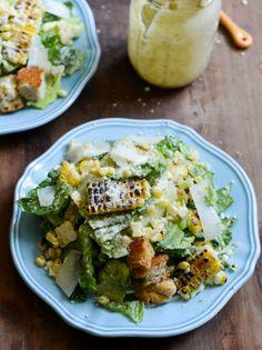 Roasted Corn Caesar Salads with Parmesan Greek Yogurt Caesar Dressing I howsweeteats.com #dinner #recipe