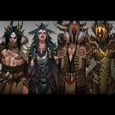 Druids by hyun Lee on ArtStation. 4 different tiers of Druids. Just for fun! Character Concept, Character Art, Concept Art, Dnd Characters, Fantasy Characters, Medieval Games, Character Portraits, Character Design References, Barbarian