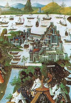 The siege of Constantinople in 1453, according to a 15th-century French miniature