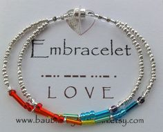 Etsy. Embracelet Rainbow Morse Code LOVE Bracelet. This is so cute and looks easy to make!