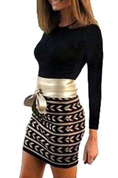 ce0c5db3aea Zeagoo Women Sexy 2PCS Long Sleeve T-Shirt Tops + High Waist Pencil Skirt  at Amazon Women s Clothing store
