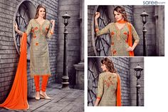 BEIGE COTTON SUIT WITH EMBROIDERY WORK