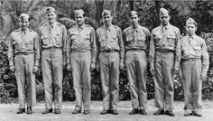 Russell Allen Phillip's crew. Left to right: Phillips, temporary copilot Gross, Louie Zamperini, Mitchell, Douglas, Pillsbury, and Glassman. Moznette, Lambert, and Brooks are not pictured. Courtesy of Louis Zamperini