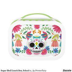 Shop Sugar Skull Lunch Box, School custom Lunchbox created by PrinterFairy. Sugar Skull, Back To School, Lunch Box, Cute, Sugar Skulls, Kawaii, Bento Box, Entering School, Back To College