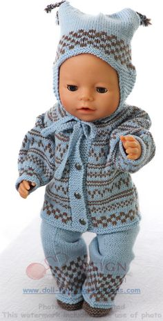 PURCHASED pattern - KNIT - Warm knitting clothes for doll Emmelina ~ (This pattern fits - dolls like American Girl doll, Baby born and Alexander doll) Baby Knitting Patterns, Baby Patterns, Crochet Patterns, Knitting Dolls Clothes, Knitted Baby Clothes, Knitted Dolls, Baby Born Clothes, Bitty Baby Clothes, Doll Dress Patterns