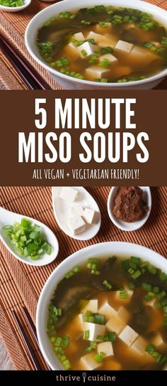 The best way to know for sure that your miso soup is vegan is to make your own at home. This recipe only has 5 ingredients and can be made in as little as 5 minutes. Who would have thought that homemade miso could be so simple? Easy Soup Recipes, Tofu Recipes, Asian Recipes, Vegetarian Recipes, Cooking Recipes, Healthy Recipes, Ethnic Recipes, Tofu Soup, Chinese Recipes