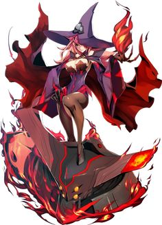 View an image titled 'Nine Art' in our BlazBlue: Central Fiction art gallery featuring official character designs, concept art, and promo pictures. Fantasy Witch, Fantasy Rpg, Fantasy Girl, Female Character Design, Character Concept, Character Art, Concept Art, Anime Witch, Witch Manga