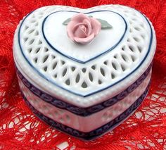 """4"""" Woven Porcelain Heart Box - Porcelain heart shaped box perfect for those treasured items you have."""