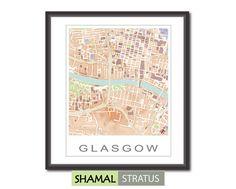 GLASGOW CITY MAP Handmade print  Shamal  Stratus by Planimetrica