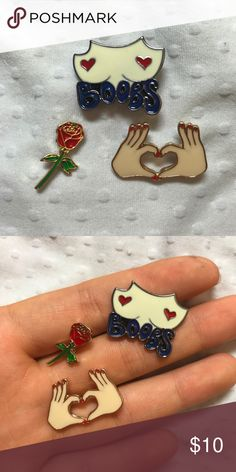 Set of 3 Enamel Pins New Set of 3 cute tumblr and kawaii Enamel Pins. Perfect for backpacks clothes denim etc. Free shipping on Mercari! UNIF Accessories