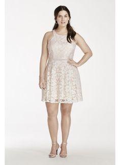 74762438df9b Lace Plus Size Dress with Embellished Waist 3283NV3W Short Lace Dress