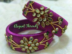 Silk Thread Bangles Design, Silk Thread Necklace, Thread Jewellery, Fabric Jewelry, Beaded Jewelry, Handmade Jewelry, Kundan Bangles, Silk Bangles, Bridal Bangles