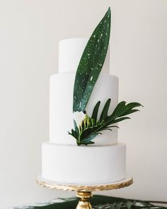 Tying the knot near the beach doesn't mean your cake has to be all seashells and ocean blue frosting. In fact, this Ma Petite Maison Cake Designconfection, whichfeatures just a few tropical leaves, feels beach wedding-worthy without being too thematic.