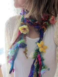 scarf lariat rustic enchanted forest rainbow by beautifulplace