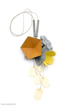 Lucy Sarneel - Daily Offer V, 2012 - necklace, zinc, paint, varnish, hennep rope, Microwood, bone - 300 x 150 x 50 mm