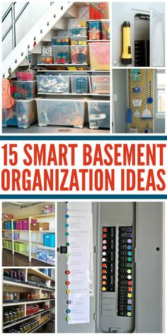 Tips for an Organized Basement - One Crazy House Don't let your basement become a dumping ground for all the things you don't know what to do with. Get inspired with these smart basement organization tips! Organisation Hacks, Garage Organization, Basket Organization, Basement Makeover, Basement Renovations, Basement Decorating, Decorating Ideas, Basement Designs, Home Organization