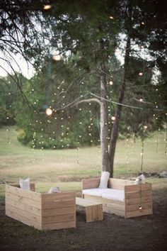 Outdoor Area?! - love the light curtain! and i bet the furniture could be made with recycled shipping crates or palettes!