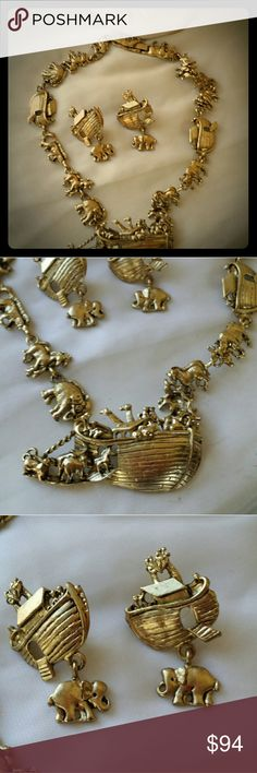 VINTAGE NOAHS ARK NECKLACE/EARRING SET. STATEMENT Form the 70 or 80. Not sure which year. Beautiful statement set. May be signed. But can't see it. Stays shiny. Clip on earring. Vintage Jewelry Necklaces