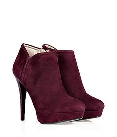 KORS Michael Kors Aubergine Suede Ankle Boots with Snakeskin Heel l wantering.com