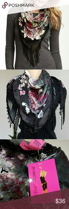 """Betsey Johnson Triangle Velvet Wrap NWT Velvet wrap with partial sheer construction - Bead embellishment - Beaded and fringe hem - Approx. 30"""" L x 31"""" W 80% rayon, 20% nylon Betsey Johnson Accessories Scarves & Wraps"""